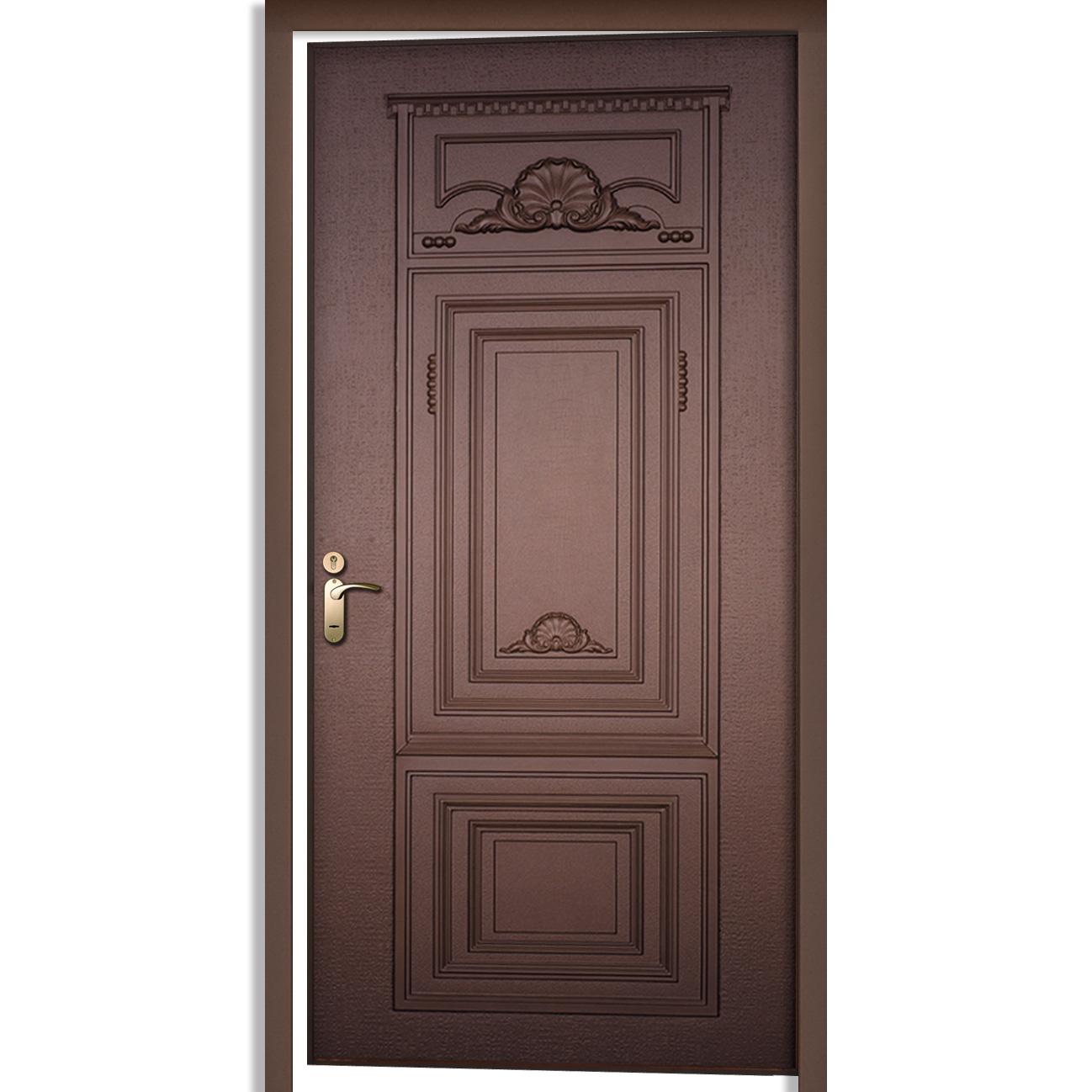 Cast aluminum door single door prolumis for Single main door designs
