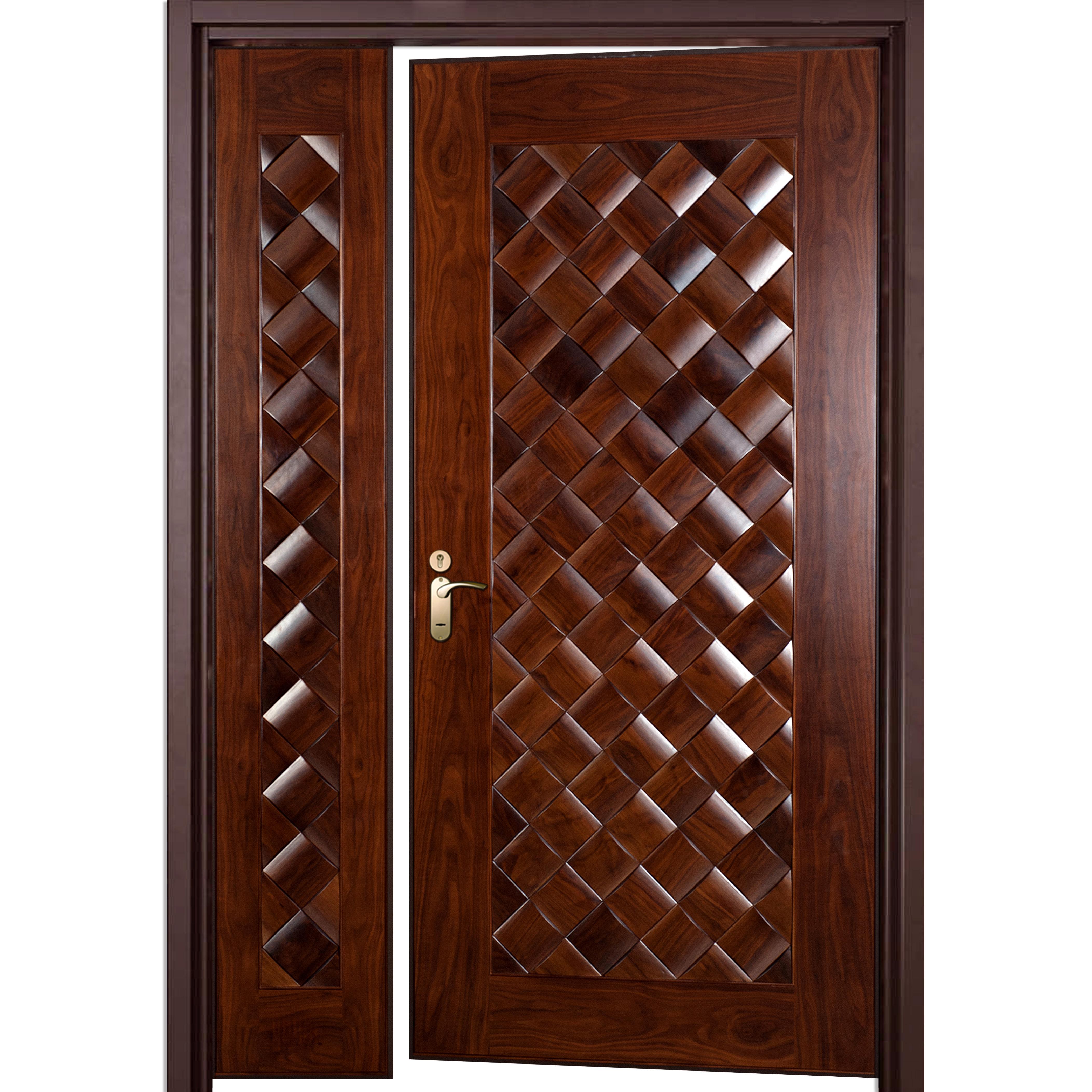 4210 #401B0F Wood Encased Steel Door With Side Panel Prolumis picture/photo Steel Front Doors For Homes 42594209